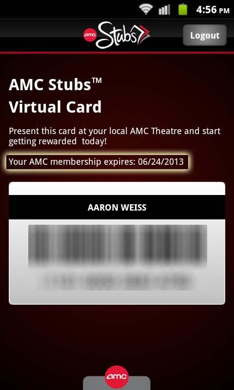 AMC Stubs App Expiration